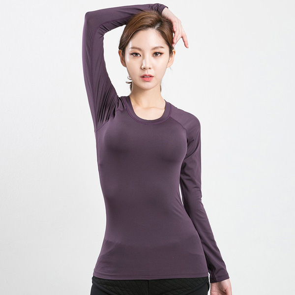 AKIII CLASSIC (AKIII CLASSIC) <br> AT-0107 Purple <br> Built-pad Basic Long-sleeve T-shirt